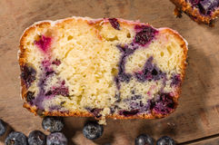 Slice of blueberry coffee cake loaf with blueberries Royalty Free Stock Image