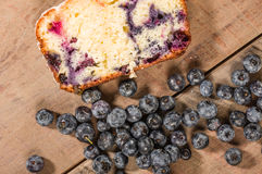 Slice of blueberry coffee cake loaf with blueberries Stock Image