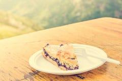 Slice of blueberry pie. Stock Photo