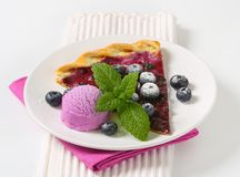 Slice of blueberry tart with ice cream Royalty Free Stock Photos