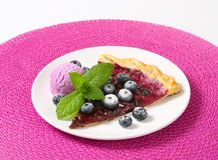 Slice of blueberry tart with ice cream Stock Photo