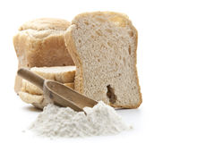 Slice of Bread. And flour Stock Images