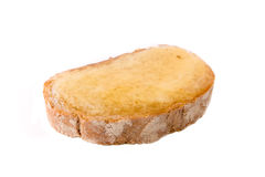Slice of Bread. With butter and honey spread on isolated Royalty Free Stock Photography