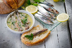 Slice bread with anchovy Stock Image