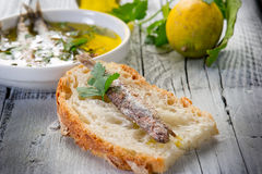 Slice bread with anchovy Royalty Free Stock Photo