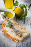 Slice bread with anchovy Royalty Free Stock Images