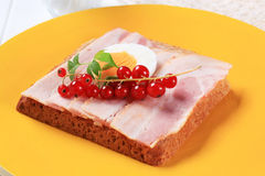 Slice of bread with bacon Stock Photography