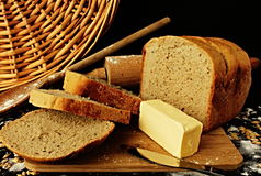 Slice bread with butte. You can see decoration bread with related objects stock photos
