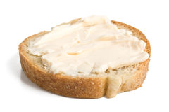 Slice of bread with cheese cream Royalty Free Stock Images