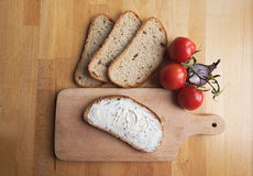 A slice of bread with cheese Royalty Free Stock Photography
