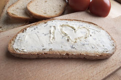 A slice of bread with cheese Royalty Free Stock Image