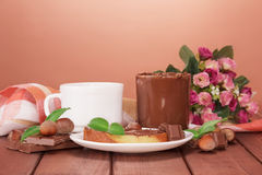 Slice of bread with chocolate cream Stock Photo