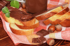 Slice of bread with chocolate cream Royalty Free Stock Image