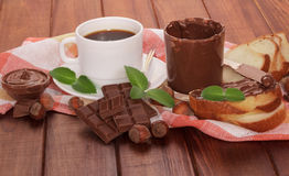Slice of bread with chocolate cream Stock Image