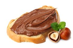 Slice of bread with chocolate cream with hazelnut isolated on white background Stock Photos