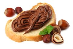 Slice of bread with chocolate cream with hazelnut isolated on white background Royalty Free Stock Photo