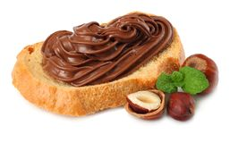 Slice of bread with chocolate cream with hazelnut isolated on white background Royalty Free Stock Photos