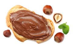 Slice of bread with chocolate cream with hazelnut isolated on white background. top view Royalty Free Stock Images