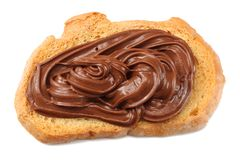 Slice of bread with chocolate cream isolated on white background Royalty Free Stock Photo
