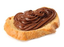 Slice of bread with chocolate cream isolated on white background Royalty Free Stock Photography