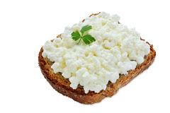 Slice of bread with cottage cheese Stock Photo