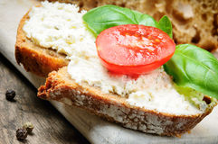 Slice of bread with cream cheese Stock Photos