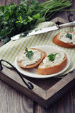 Slice of bread with cream cheese Stock Photos