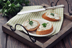Slice of bread with cream cheese Stock Photo