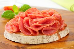 Bread with dry salami Royalty Free Stock Photo