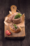 Slice of bread with duck liver pate Stock Photo