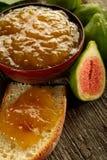Slice bread with fig jam Stock Photo