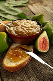 Slice bread with fig jam Stock Photos