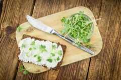 Slice of bread with fresh cutted cress and cream cheese on an ol. Slice of wholemeal bread with fresh cutted cress and cream cheese on an old wooden table Stock Photography