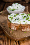 Slice of Bread with fresh made Herb Curd Royalty Free Stock Images