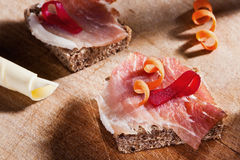 Slice bread with ham and paprika Stock Image