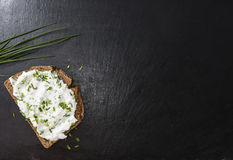 Slice of Bread with Herb Curd. (detailed close-up shot stock photos