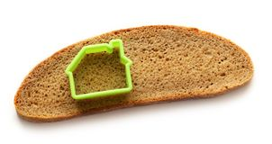 Slice of bread in house form Stock Photo