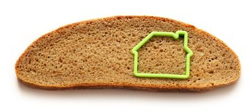 Slice of bread in house form Royalty Free Stock Photo