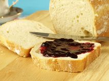 Slice of bread with jam Royalty Free Stock Photography