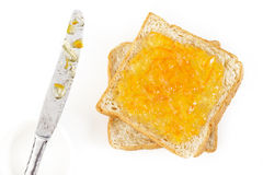 Slice of bread with jam Stock Images