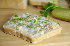 Slice of bread with lard Royalty Free Stock Image