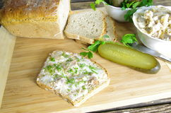Slice of bread with lard Stock Photos