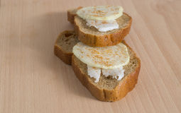 Slice of bread with lard and onion covered by paprika Royalty Free Stock Photo