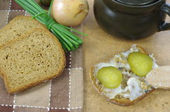 Slice of bread with lard Stock Images