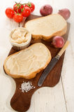 A slice of bread with lard Royalty Free Stock Photos