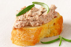 Slice of bread with liver spread Royalty Free Stock Photo