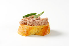 Slice of bread with liver spread Stock Photo