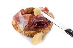 Slice bread with parma ham Royalty Free Stock Photography