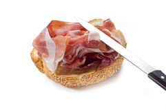Slice bread with parma ham Royalty Free Stock Images