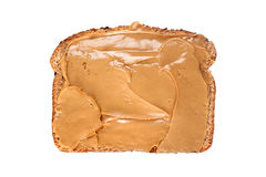 Slice of bread with peanut butter Stock Photo